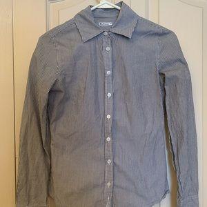 BEN SHERMAN White & Gray Striped Button-Down Shirt